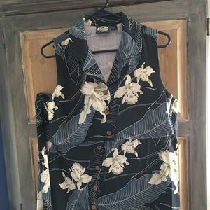 Tommy Bahama Floral Long Silk Dress Size Small